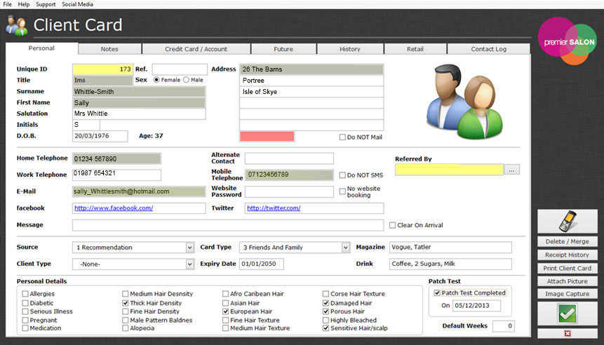 Appointment booking software, Client details